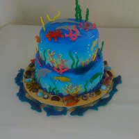 Niece's Dolphin Birthday Cake My niece wanted an underwater / dolphin cake for her birthday so I make this little cake for her. Blue fondant, airbrushed fade... royal...