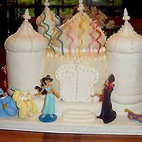 Aladdin And Jasmine's Palace: A Birthday Cake Sophia asked for a Jasmine cake for her 6th birthday. We made it together. Towers are made of ginger snaps and vanilla wafers covered with...