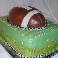 Sophia's Football Cake My granddaughter, Sophia (4 years), asked for a football cake for a reunion with her uncles and grandfather. I thought it was appropriate...