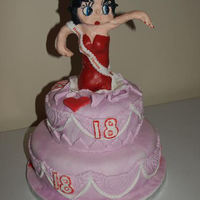 Betty Boop Betty boop springing from a 2 tier cake, betty is made on a plastic rod frame by moulding and sculpting fondant icing, this is the 1st time...