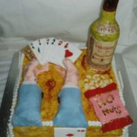 Card Cake Chocolate cake decorated with sugar paste with modeled hands holding cards, bag of nuts at side with wine bottle, the wine bottle was a...
