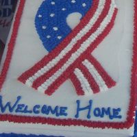 Welcome Home Patriotic Ribbon I made this cake for our cousin who just returned from Iraq. It was French Vanilla with strawberry filling and BC icing.