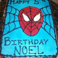 Spiderman Birthday Cake I'm new to cake decorating. This is only the fourth cake I've decorated and the first Spiderman Cake I've done. All BC.