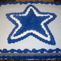 Dallas Cowboys Star Dallas Cowboys Star made with BC frosting. Cake covered in grey BC icing, but for some reason it seemed as if it was baby blue when I added...
