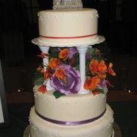 Krystal's Cake  I made this cake for my brother's wedding. I transported it unstacked over 5 hours. The top two tiers are styrofoam and the bottom...
