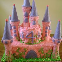 Castle For My Princess First castle cake Ive made. It was for my daughters 4th birthday .Wasc colored pink and purple and swirled for bottom tier (wish i would of...