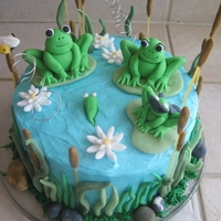 Froggy Family I made this cake for a friends Baby Shower. Chai tea cake with cream cheese frosting. She has a little boy that is way into Batman and...