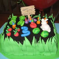 "Wormy Garden Party W Grass My birthday boy asked for a ""Wormy Party"" cake. His 6-year old brother came up with the idea of shaping a worm into a three! Just..."