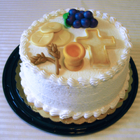 Simple First Communion Cake Just posting this one in case someone can draw inspiration. My inspiration came from the banner my son created for the pew. The cake was...
