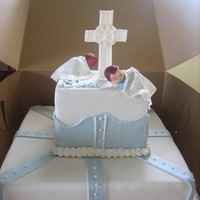 Twins Baptized   choco/straw filling/fondant covered. twins are little babies covered with fondant blankie cross is also fondant