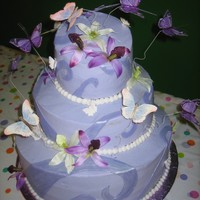 Butterfly 15Th this cake was inspired by the pink cake box. birthday girl saw it requested it. all buttercream with fondant accents. hope you can see that...