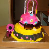 Hat And Purse Cake made this cake for a little girls 8th birthday. Made with all buttercream.