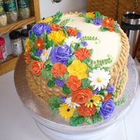Thanksgiving Flowers I made this for my sister-in-law who was having Thanksgiving at her house. It's spice cake with pumpking filling and crusting cream...