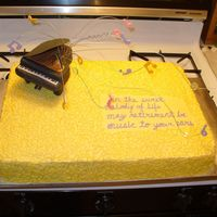 Piano Retirement Cake This was 2 cakes put together. One chocolate w/peanut butter filling and one white w/raspberry filling. BC icing with fondant notes on the...