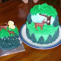 "Spencer's Deer Cake My son wanted a cake with a deer standing next to a tree with a ""rub"" on it (the mark left on the tree by the deer when they rub..."