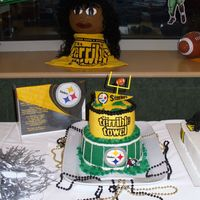 Steelers Bake-Off Entry We had a Steelers Bake-off at work and this is my entry. It's BC, and I made the pennant on top out of rice paper, food coloring...