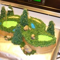 "Gary's Golf Cake I made this by cutting an 8"" cake into a yin-yang shape and turning one upside down and arranging them into this shape. Everything is..."