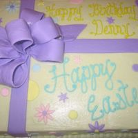 Easter Cake BC with fondant bow and accents. This was for Easter and a birthday.