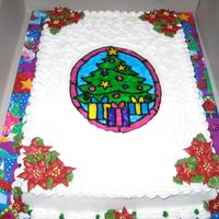 Stained Glass Sheet Cake This is a half vanilla, half chocolate 1/4 sheet cake. All buttercream with royal icing pointsettias and piping gel for the stained glass....