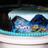 Starry Night Village This is the side of the cake with the little village.