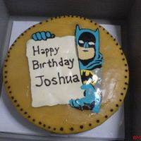 "Batman Chocolate Transfer A birthday cake I made for my nephew. Batman transfer was a rectangle thus the ""cut-off"" on one side. Butter cake with Quick..."