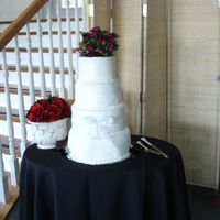 The Stephanie My first wedding cake ever! All buttercream icing , red velvet, chocolate and yellow cake.