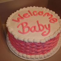Simple Pink Bably Shower Cake Simple Pink Bably Shower Cake - buttercream and basket weave