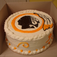 "Redskins B-Day Cake Simple 10"" cake w/ buttercream transfer decoration."