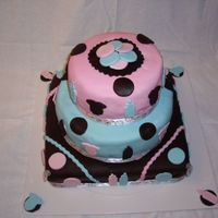 Danacia's Baby Shower Cake for a friend's baby shower - she is having boy/girl twins. I make cakes just for fun and have a lot to learn! But, this one didn...