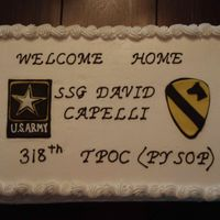 Welcome_Home_Army.jpg Welcome home cake. BC with fondant accessories.