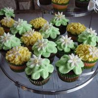 Cupcakes For An Outdoor Wedding - Very Casual buttercream designs with fondant daisy