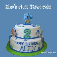 Blues Clues done with a deco kit. buttercream with fondant dots.