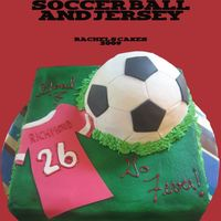 Ball And Jersey Cake this was for a girl's birthday. Most is buttercream, except jersey and black accents on the soccer ball. TFL.