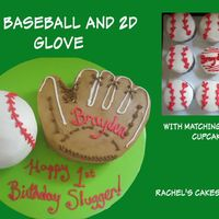 Ball And Glove 3D ball pan, and hand carved 2D glove. All is buttercream. Matching cupcakes