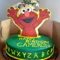 Elmo Giant Cookie Cake This was done after looking at some great idea cakes here on CC. Elmo is a large (overbaked) sugar cookie, frosted and affixed with a wafer...