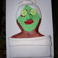 Spa Retreat Yellow cake covered in BC with fondant cucumbers, head towel, lips, and blanket