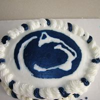 Penn State Birthday Cake FBCT for Penn State Logo. Chocolate cake with raspberry filling
