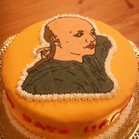 "Bald Britney - Side Britney mid head shave, cinnamon cake with chocolate frosting. Made for my sister's birthday. The side of the cake says ""Bald..."