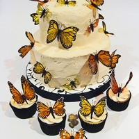 Monarch Butterfly Cake & Cupcakes This is a cake and some of the cupcakes I made for a bride's wedding that had a Monarch butterfly theme. I used gelatin to make the...