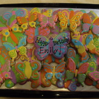 Butterflies Thanks for looking! These were for a 10 year olds butterfly birthday! Vanilla butter cookies with glaze!