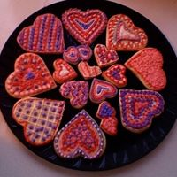 Valentine Cookies Decorated by my eight year-old daughter and I... can't tell who did which!