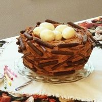"Bird Nest Cake My daughter asked for a nest cake for her 6th ""Bird-Day"" party. She was partial to chickens because of her pet Mrs. Cluckers. The..."