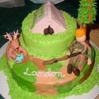 Hunting Cake Great inspiration on this site. Thanks for all the help. All buttercream except figurines and suger cone tree on a pretzel stick