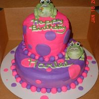Girly Frogs All buttercream except for the fondant frogs and polka dots. The little balls are buttercream.
