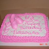 Ballerina Fondant shoes and buttercream. The little girl's name is Belle so the mother asked for Bellerina to be put on the cake. I used the...