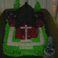Church Cake This cake was 4 layers all buttercream except sidewalk doors and roof and the water fountain. It was done for a benefit. Sorry for the bad...