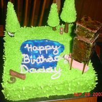 Deer Cake All cake except gumpaste deer stand, deer and binoculars and animals and sugar cone trees on pretzel sticks. See other view.