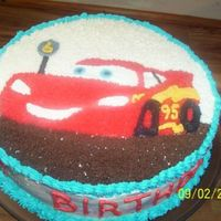 Lightning Mcqueen Cake For 6 Yr Old Son Chocolate cake, BC icing, top done with star tip. (First attempt at this.) My 6 yr old was more than thrilled with his cake. I was so glad...