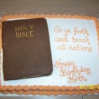 Bible Themed Birthday Cake Hubby had the idea of doing a bible on a cake for his uncle's upcoming birthday, so that's what we did.(he's a pastor) It...