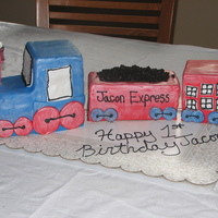 Jacon Express Train cake for a first birthday party